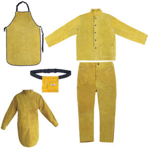 Soft Leather Welding Apron Heat Resist Workwear Safety Protective Clothing Bag