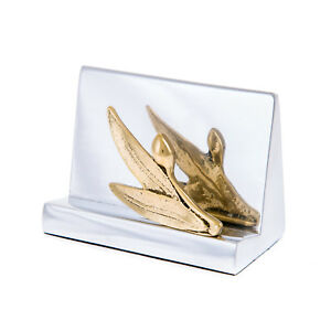 Business Card Holder Olive Branch Design Handmade Modern Solid Metal