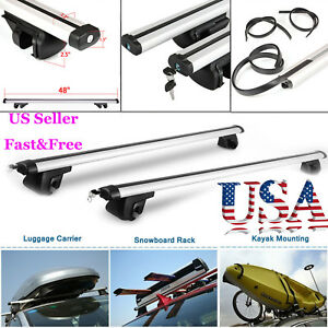 48 Universal Car Wagon Aluminum Roof Top Rail Rack Cross Bars Luggage Carrier Us