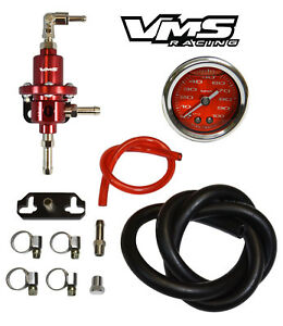 Vms Racing Adjustable Fuel Pressure Regulator Gauge Kit Red For Toyota Corolla
