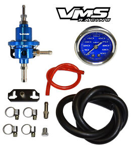 Vms Racing Fuel Pressure Regulator Gauge Kit Blue For 92 95 Honda Civic D15 D16