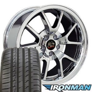 18x9 Wheels And Tires Fit Ford Mustang Fr500 Style Chrome Rims W ironman B1w