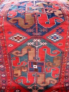 1890 1900 Antique Caucasian Cloud Band Karabagh Rug Soft Wool 7 10 X 4 7
