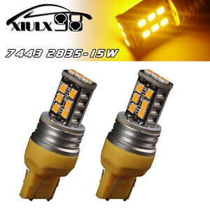 2x Amber Yellow 7443 7440 High Power 15w Non Polarity Led Turn Signal Light Bulb