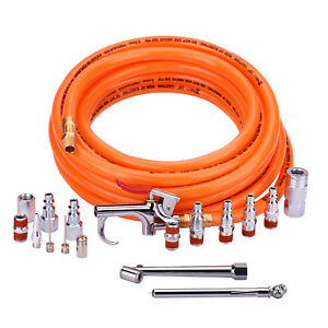 25ft Pvc Air Hose And Air Compressor Accessories Kit With 17 Piece Air Tool