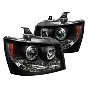 New Led Halo Projector Headlights Lamps Blk For Chevy Tahoe Avalanche 2007 2014