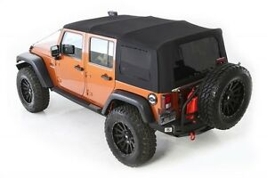 2010 2017 Jeep Wrangler Unlimited Twill Replacement Soft Top Tinted Windows