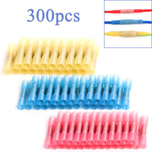 300x red Blue Yellow Awg Heat Shrink Insulated Butt Crimp Wire Connector