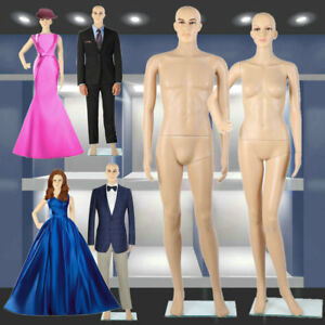 1x Female 1x Male Full Body Realistic Mannequin Display Head Turns Dress Stand