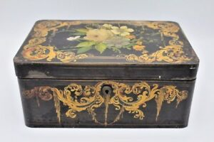 Antique Hand Painted Tin Tole Metal Box Heavy W Double Wall Design 12 X 8