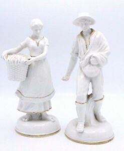 Vintage Pair Of French Glazed Porcelain Figures Of Woman W Basket