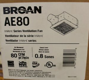 New Ae80 Broan Invent Ventilation Fan Ceiling 9 1 4 In D X 5 3 4 In H X 10 In W