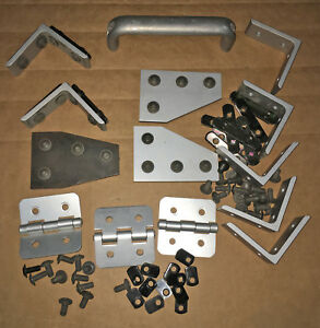 Lot Extruded Aluminum T slotted channel Door Hardware Hinges Bracket Fasteners