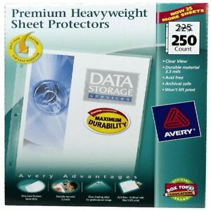 250 Avery Sheet Page Protectors Clear Heavy Duty 8 5 X 11 Top Load Documents New
