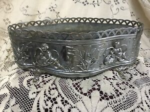 Antique French Silver Metal Planter With Cherubs Swans Cattails