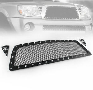 2005 2010 Toyota Tacoma Black Front Upper Rivet Mesh Grille Grill Insert 3pc New