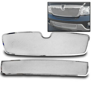 Lincoln 2003 2004 Navigator Front Top bumper Chrome Stainless Mesh Grille Insert