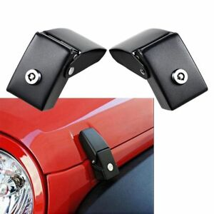 2x Black Hood Lock Assembly Catch Latches Kits For Jeep Wrangler Jk