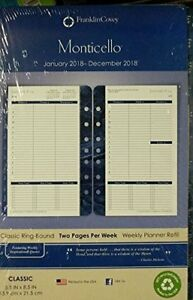 Franklin Covey Classic Monticello Dated Two page Per Week Planner Refill 2018