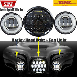 Motorcycle 7 Led Projector Daymaker Headlight Passing Lights For Harley Touring