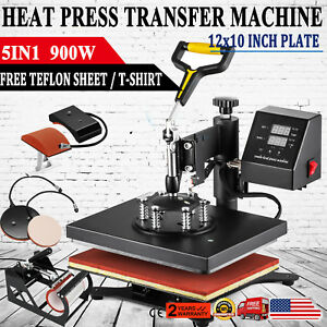 5in1 12 x10 Heat Press Machine Transfer Subimaltion T shirt Cap Swing Mug Cap