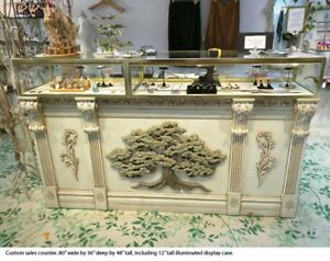 Pos Sales Retail Store Display Showcase Counter Custom Made With Side Counter