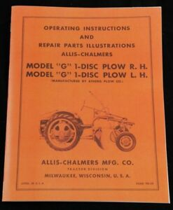 Allis Chalmers G Tractor 1 Disc Turning Plow Owner s Parts Manual Ac Disk