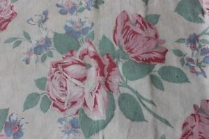 Genuine Vintage American Cotton Feedsack Fabric Pillow Cover Pink Roses