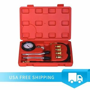 Petrol Engine Cylinder Compression Tester Kit Automotive Tool Gauge With Case