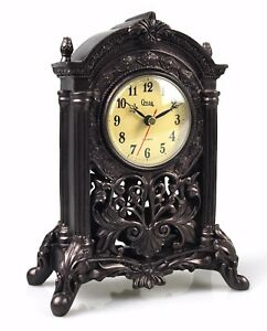 Classic Antiqued Mantel Clock Old Fashioned Retro Decorative Resin Table Clock