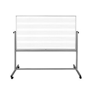 Luxor Mb7248mw 72 X 48 Mobile Music Whiteboard With free Whiteboard Cleaner