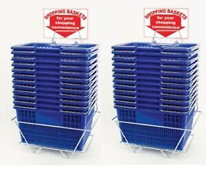 New 24 Standard Shopping Baskets Chrome Handles Metal Stand And Sign Blue
