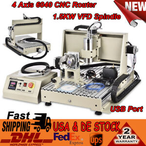 Usb 4 Axis Cnc 6040 Router Engraver 1 5kw Vfd Spindle Milling Drilling Machine