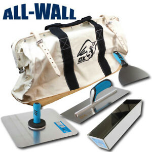 Ox Pro Drywall Hawk Trowel Set With Mud Pan 6 Knife 24 Canvas leather Bag