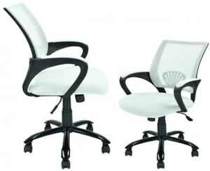 White Mesh Computer Office Desk Task Chair Metal Base Sets Of 2