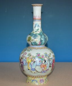Elegant Antique Chinese Famille Rose Porcelain Vase Marked Qianlong Rare O6916