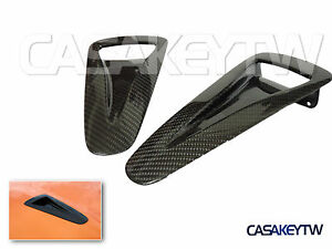 2x New High Quality Carbon Fiber Hood Vents Intake Ducts For 2009 17 Nissan Gt R