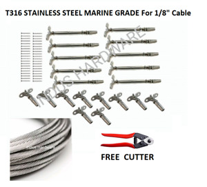 1 8 Cable Railing 316 Stainless Steel Kit 36 1 8 1 19 250 Ft full Kit For Wood