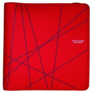 Five Star Red Lines 1 5 3 ring Zipper Binder Office School Organization Quick