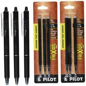 Pilot Frixion Clicker Retractable Gel Ink Pens Eraseable Fine Point 0 7 Mm Black