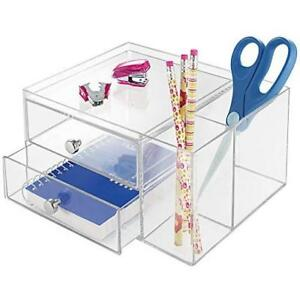 Mdesign Clear Durable Plastic Compact Office Supplies Desk Organizer Perfect Met