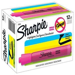 Count 12 Sharpie Tank Highlighters Chisel Tip Fluorescent Pink Gift Xmas New