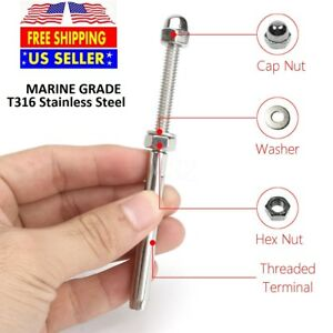 Marine Grade T316 Stainless Steel End Fitting Cable Railing 1 8