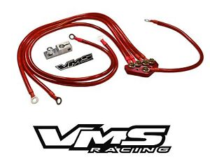 Red Vms Racing Universal 5 point 10mm Ground Wire System Kit For Honda Vehicles