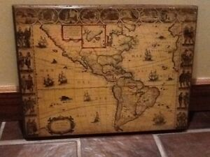 Vintage Old World Map Of North America And South America Mounted On Wood 22 W