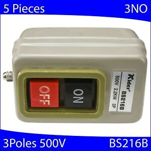 5 Pcs On off Metal Control Box Bs216b Pushbutton Switch 500v 2 2kw 3 pole