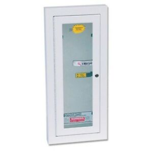Fire Extinguisher Cabinet 5 Lb White Semi Recessed Locked Indoor Outdoor Safety