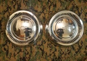 Vintage Chevrolet Dog Dish Wheel Hub Caps Bowtie 1960 S 1970 S Oem Gm
