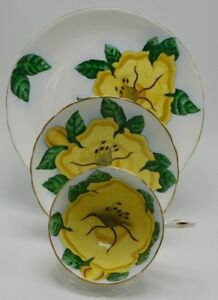 Vintage Tuscan Tea Cup And Saucer Trio Yellow Hibiscus Flowers
