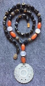 Atq Chinese Necklace Carved Jade Prayer Wheel Carnelian Chalcedony Silver Beads